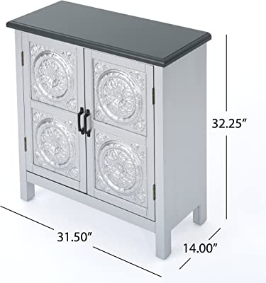 Christopher Knight Home 303265 Alana Firwood Cabinet with Faux Wood Overlay and Top Silver/Charcoal