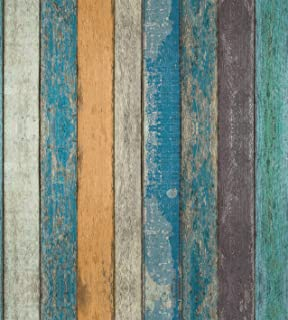 Rustic Plank Wood Wallpaper - Wood Peel and Stick Wallpaper - Contact Paper or Wall Paper - Removable Wallpaper - Prepasted Wallpaper - Blue Green Yellow Strips - 1.48 ft. x 32.75 ft. (17.71