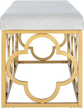 Safavieh Home Fleur 45-inch Glam Grey Velvet and Gold Rectangle Bench