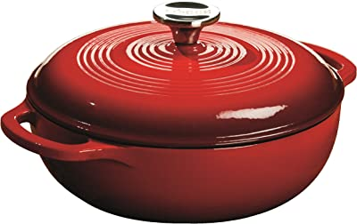 Lodge Enameled Cast Iron Dutch Oven, 3-Quart, Island Spice Red
