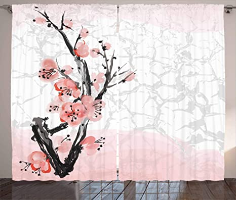 Amazon Com Ambesonne Floral Curtains Japanese Cherry Blossom Sakura Tree Branch Soft Pastel Watercolor Print Living Room Bedroom Window Drapes 2 Panel Set 108 X 84 Pink Coral Home Kitchen