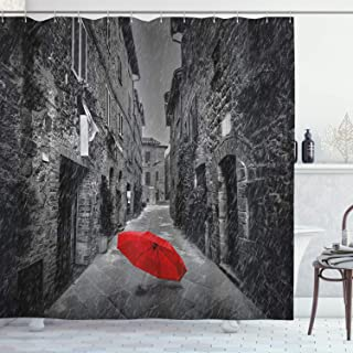 Best red black and white shower curtain Reviews