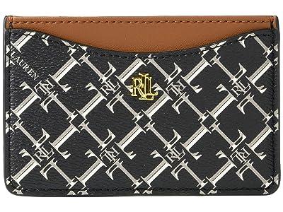 LAUREN Ralph Lauren Coated Canvas Slim Card Case Medium (Black Heritage Logo) Handbags