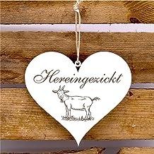 Bord Hart Heringickt - deurbordje met geitenmotief 13x12 cm