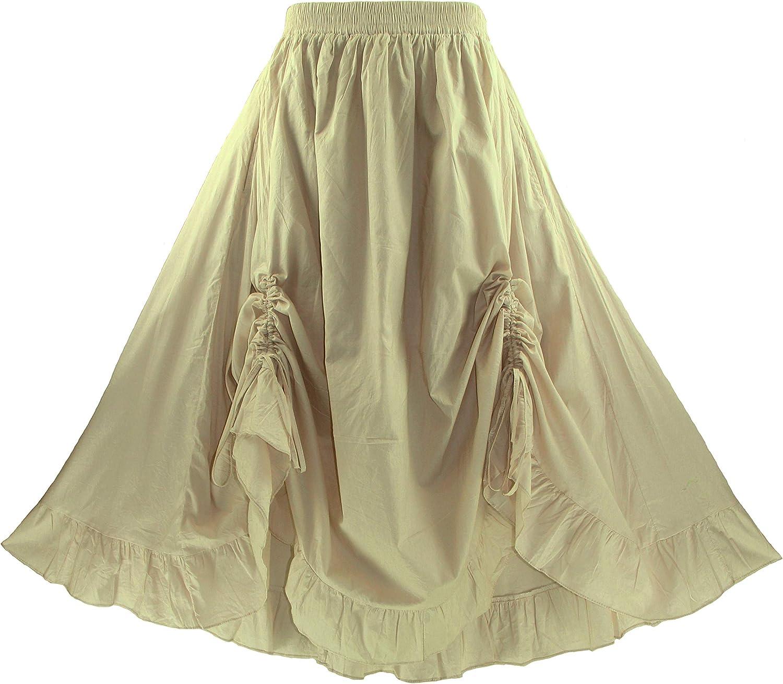 Beautybatik Women Cotton Boho Gypsy Long Maxi Victorian Plus Size Flare Skirt