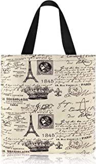 Reusable LargeWomen Canvas Shopping Handbag 16 x 14 inches Casual Grocery Tote Bag with Zipper Rope Handle Ladies Shoulde...