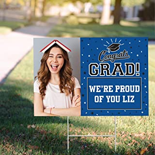 "Party City Custom Class of 2021 Graduation Photo Yard Sign, Personalized Party Supplies, Decorations, Blue, 22"" x 15"""