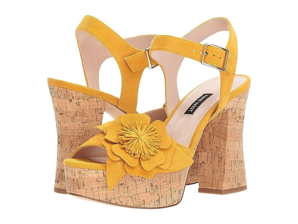 Nine West Winflower Heel Sandal (Yellow Suede) Women