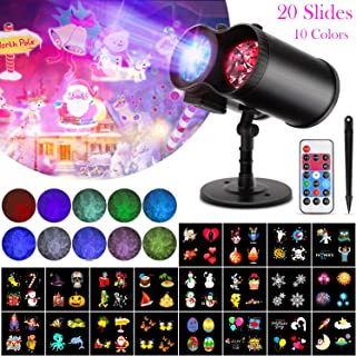 Christmas Projector Lights, 2-in-1 Ocean Wave Light Projector Waterproof Holiday Projector Lights Outdoor Indoor 10 Colors 20 Slides Moving Patterns for Christams Halloween Easter Birthday Party