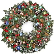 TURNMEON 30 Inch Christmas Wreath with Light Christmas Decoration Battery Operated Pre-lit Spruce Wreath Garland with 80 C...