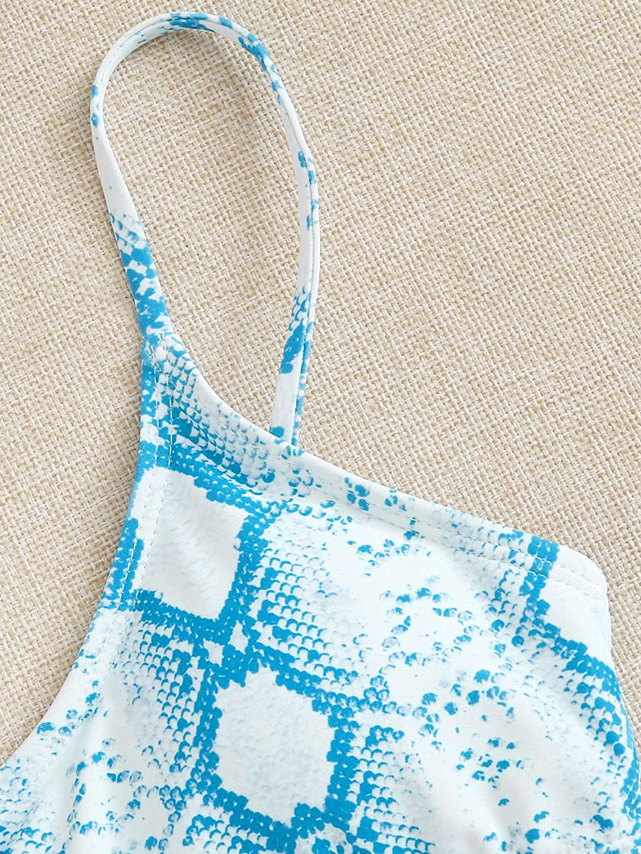 Milumia Women Casual Snakeskin Print Spaghetti Thin Strap Bikini Top Swimsuit