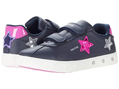 Geox Kids Skylin Girl 1 (Little Kid/Big Kid) (Navy/Fuchsia) Girl