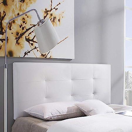 marcKonfort Tête de lit Carla 140x60 cm Blanc, rembourrée de Mousse, 8 cm d'épaisseur, Comprend Le matériel de Suspension
