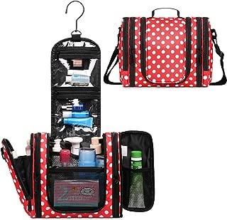 WANDF Expandable Toiletry Bag Hanging Dopp Kit TSA Approved Bottles Water Resistant (Red Polka Dots)