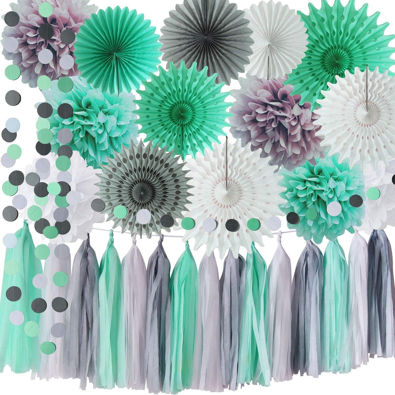 Mint Grey Baby Shower Decorations/Mint Grey White Elephant Baby Shower  Supplies Tissue Paper Pom Pom Circle Garland Tassel Garland Mint Bridal  Shower ...