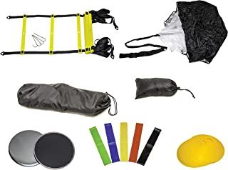 GetupGo Speed Agility Training Set with eBOOK-Bags, Speed Ladder, Speed Parachute, Cones, Core Sliding Discs, Resistance Bands-Agility, Speed, Power-Agility Kit For Soccer, Football, Basketball, Track
