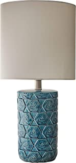 Rivet Geometric Ceramic Living Room Table Desk Lamp With LED Light Bulb - 22.75 Inches, Ocean Blue