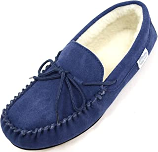 SNUGRUGS Wool Lined Moccasin Slipper with Rubber Sole