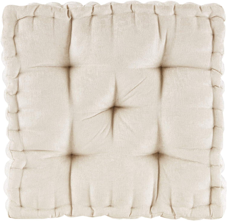 Intelligent Design half Azza Floor Philadelphia Mall Pillow Chenille Pouf Tufted Square