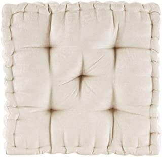 """Intelligent Design Poly Chenille Square Floor Pillow Cushion, ID31-1526, Chenille, Ivory, 20""""x20""""x5"""""""