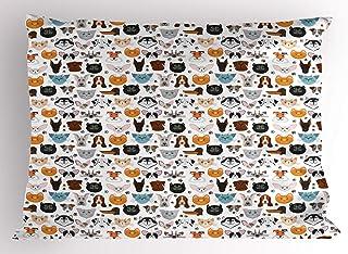 "Lunarable Animal Pillow Sham, Cat and Dog Faces Best Friends Whisker Bulldog Beagle Labrador Calico Kitty Print, Decorative Standard Size Printed Pillowcase, 26"" X 20"", Orange Grey"