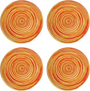 Topotdor Round Placemats Heat-Resistant Stain Resistant Anti-Skid Washable Polyproplene Table Mats Placemats (Colorful Orange, Set of 4)