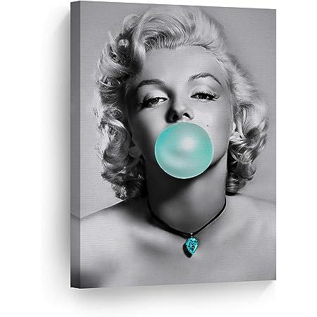 moderne Dekorationen gerahmt Kunstdruck SSKJTC Audrey Hepburn Bllowing Blue Bubble Gum Fashion Icone Pop Art 30,5 x 45,7 cm Wanddekoration