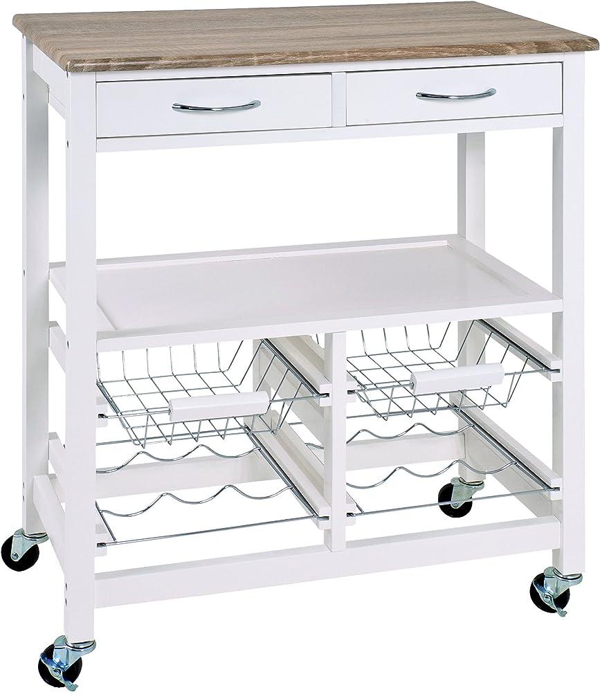 Haku möbel,carrello da cucina,in mdf bianco laccato,il piano di lavoro sempre in mdf in stile rovere. 40331