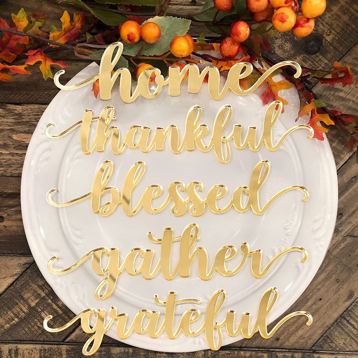 5PCS Thanksgiving Acrylic Gold Table Word Place Setting Home Thanksgiving Plate Letter SignGather Blessed Grateful Thankful Laser-cut Words for Formal Dining Room Table Plate Fall Kitchen Home Decor