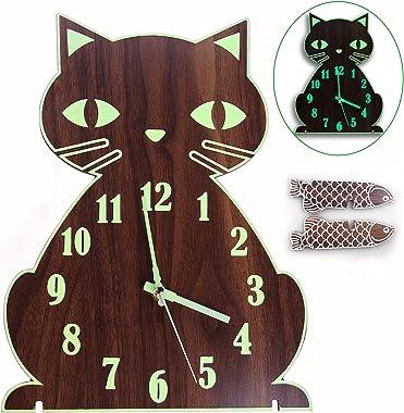 Lantoo Night Light Wall Clock, Luminous Wall Clock with Numerals & Hands Glow in Dark, Cat Wooden Wall Clock Decorative,