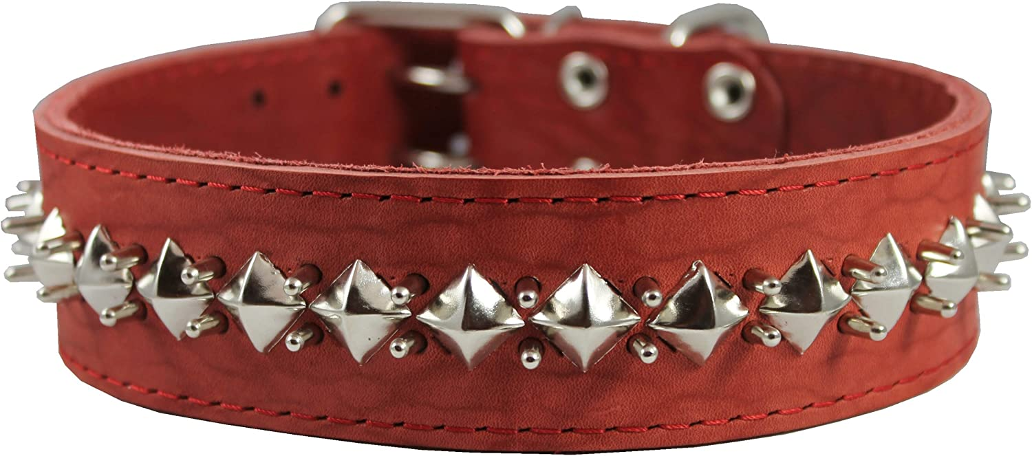 2  Wide Thick Latigo Leather Spiked Studded Dog Collar Red Sized to Fit 18 22  Neck. Retriever, Doberman, redtweiler, Pitbull