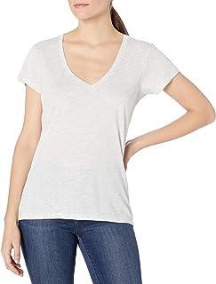 للنساء من بديل الممتزجة بتقنية Burnout Jersey ونحاسي قميص برقبة على شكل حرف V