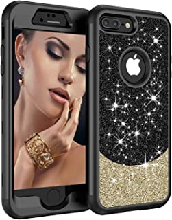 iPhone 8 Plus Case,iPhone 7 Plus Case, ZERMU Three Layer Shockproof Luxury Glitter Cute Bling Thin Soft Hard Shell Hybrid Rubber Bumper Sparkly Shining Fashion Case for iPhone 8 Plus/7 Plus 5.5