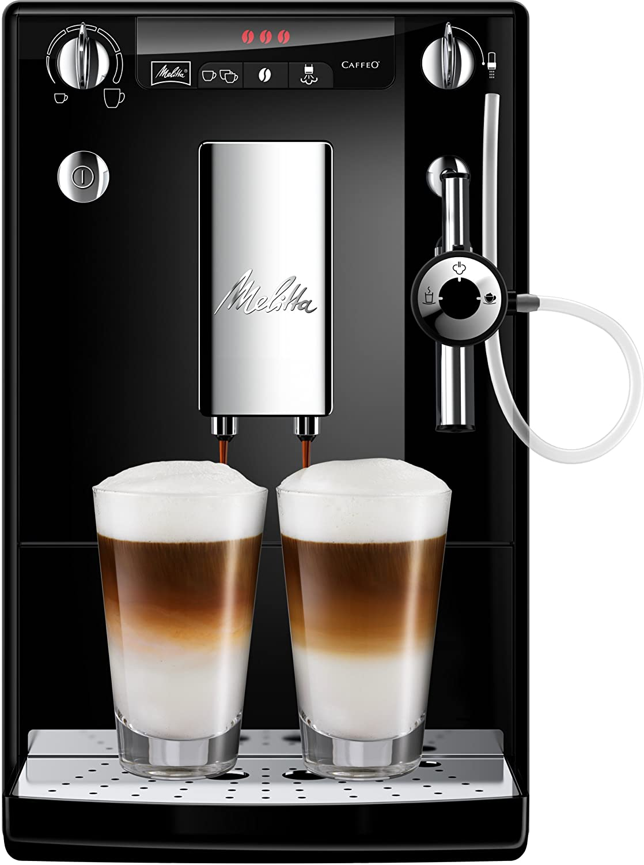 Melitta Caffeo Solo&Perfect Milk E957-101 Cafetera Superautomática con Molinillo, Auto Capuchinador, 15 Bares, Café en Grano, Limpieza Automática, Personalizable, Negro