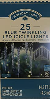 Holiday Times Icicle Twinkling Blue LED Lights -25 Ct White Wired 12 Ft Indoor/Outdoor Use String Lights