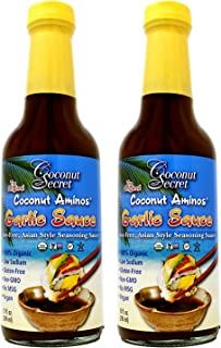 Coconut Secret Coconut Aminos Garlic Sauce (2 Pack) - 10 fl oz - Low Sodium Soy-Free Seasoning Sauce, Low-Glycemic - Organ...