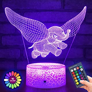 Menzee Elephant 3D Night Light for Kids,3D Lamp Optical Illusion with Remote Control&Smart Touch 7 Colors 16 Colors Changing Elephant Toys 10 9 3 5 2 8 1 7 6 4 Year Old Boy Girl Gifts