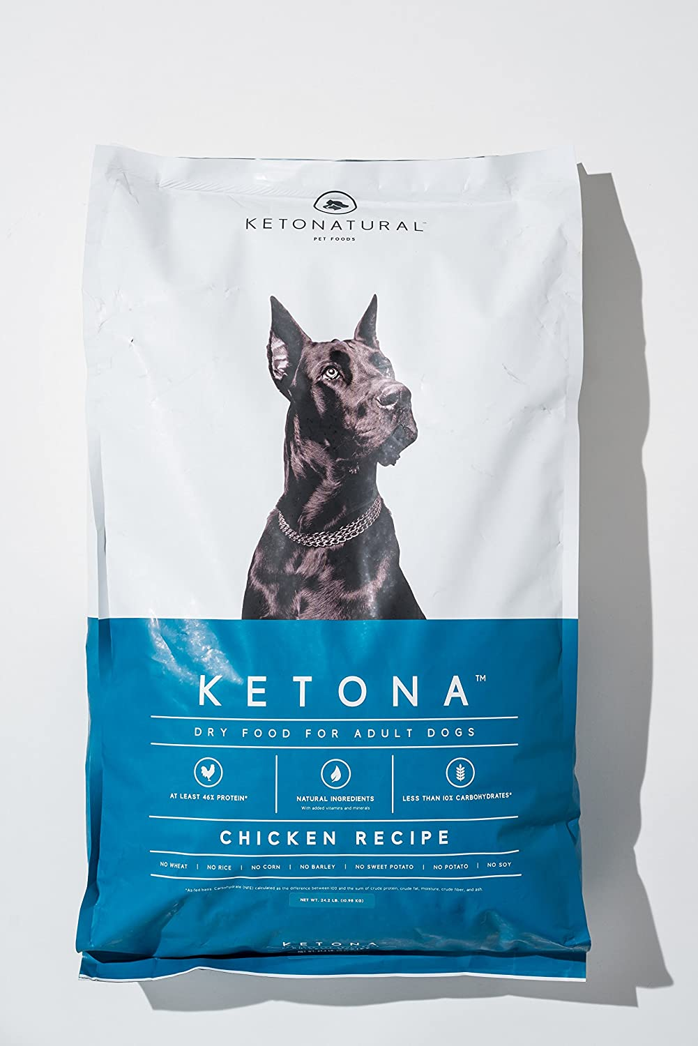 Ketona Chicken Recipe Dry Food for Adult Dogs - Low Carb, High Protein, Grain-Free Dog Food