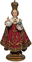 Roman Infant Of Prague With Cross Royal Red Robes 5 x 10 Inch Resin Stone Tabletop Figurine