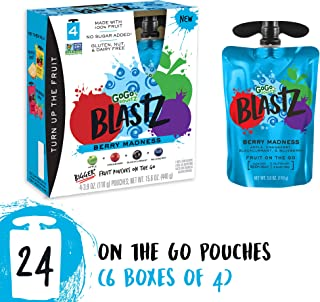 GoGo squeeZ BlastZ Fruit Pouches on the Go, Berry Madness, 3.88 Ounce (24 Pouches), Gluten Free, Vegan Friendly, Healthy Snacks, Unsweetened, Recloseable, BPA Free Pouches