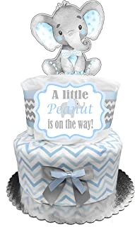 Elephant Diaper Cake - It's a Boy Baby Shower Gift - Blue and Gray