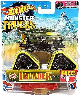 مركبات Hot Wheels Monster Trucks مصبوبة في قوالب قياس 1:64 مع عجلات عملاقة وعجلات قابلة للجمع