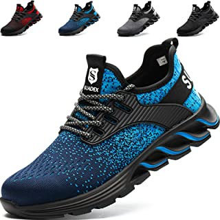 SUADEEX Safety Shoes Men Womens Steel Toe Cap Trainers Mens Womens Lightweight Breathable Safety Industrial Work Sneaker A...
