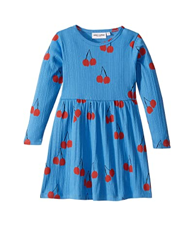 mini rodini Cherry Long Sleeve Dress (Infant/Toddler/Little Kids/Big Kids) (Blue) Girl