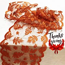 Fall Table Runner Thanksgiving Decorations 13 x 72 Inch Maple Leaves Table Runner Harvest Lace Pumpkin Runner Brow Long Fa...