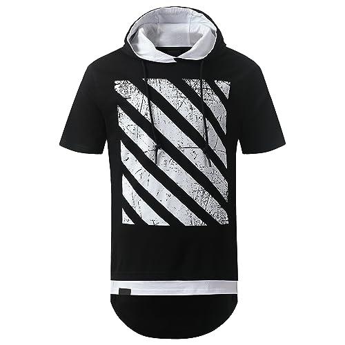 347bddabd0a URBANCREWS Mens Hipster Hip Hop Longline Pullover Short Sleeve Hooded Shirt