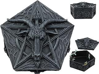 Ebros Pentagram Sabbatic Goat Baphomet Multi Purpose Jewelry Box Knights Templar Sigil Satanic Church Decorative Figurine