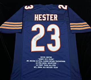 Devin Hester Signed Jersey - Blue Stat COA Great - JSA Certified - Autographed NFL Jerseys