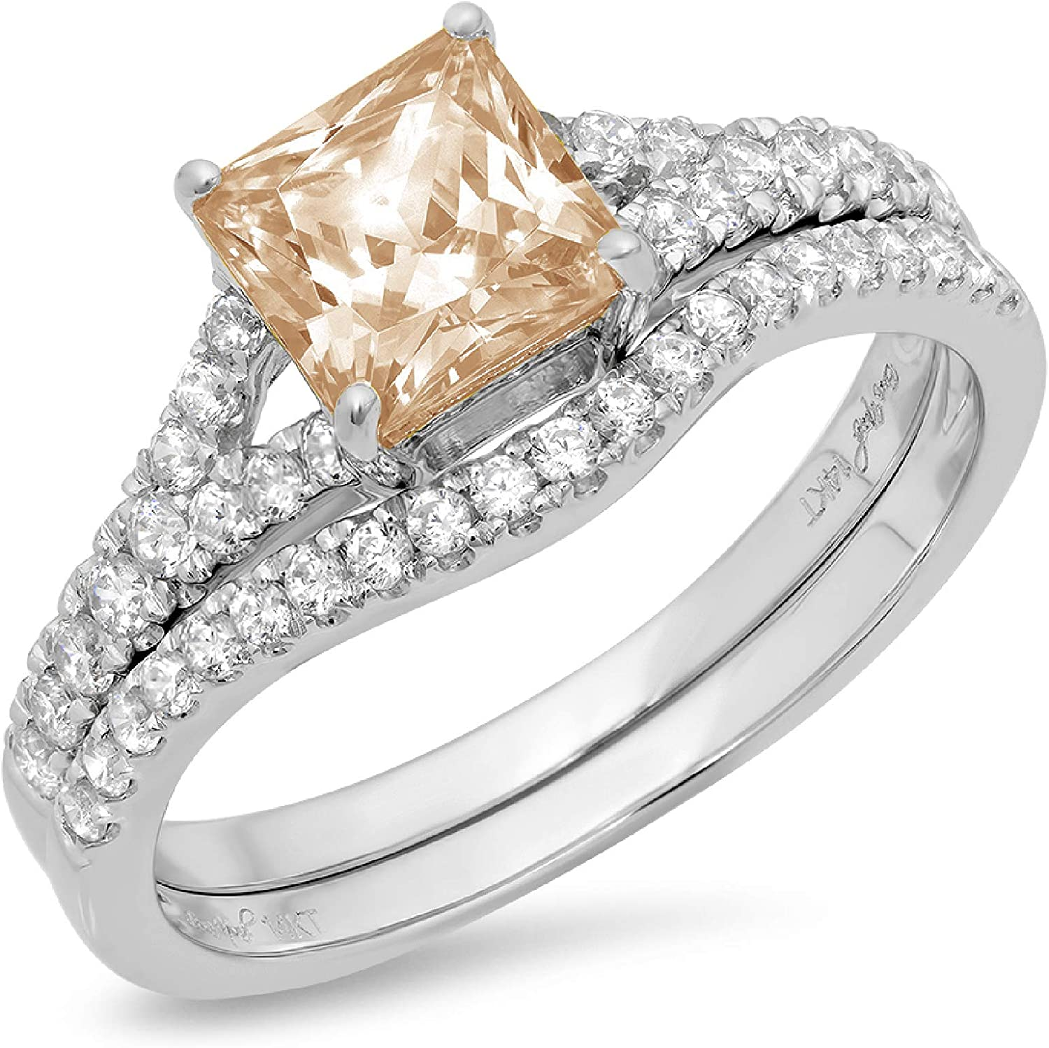 1.98ct Princess Cut Pave Solitaire with Accent Brown Champagne Simulated Diamond Designer Statement Classic Curved Ring Band Set Real Solid 14k White Gold