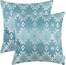 CaliTime Pack of 2 Throw Pillow Covers Cases for Couch Sofa Home Decoration Vintage Southwestern Plaid Geometric 18 X 18 Inches Teal